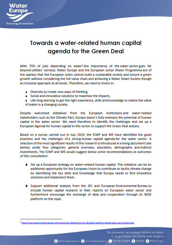 Towards a water-related human capital agenda for the Green Deal