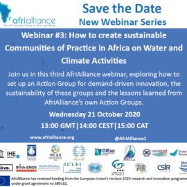New Afrialliance webinar: How to create sustainable Communities of Practice in Africa on Water and Climate activities