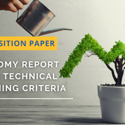 Water Europe position paper on the Taxonomy Report on the technical screening criteria – an opportunity to foster the benefits towards a Water-Smart-Society